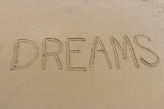 Drömmar som är skriftliga i sanden Royaltyfri Fotografi