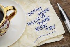 Drömmen hopp, tror Fotografering för Bildbyråer