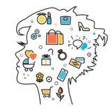 Drömmer favorit- intressen för kvinna in i den head processvektorn stock illustrationer
