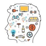 Drömmer favorit- intressen för man in i den head processvektorn vektor illustrationer