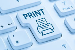 Drücken Sie blaue Computertastatur des Druckknopf-Druckdruckers Stockbild