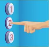 Drücken Sie Finger auf dem Knopf O.K. Stockfoto