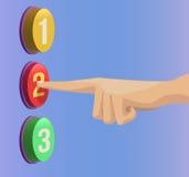 Drücken Sie Finger auf dem Knopf O.K. Stockbilder