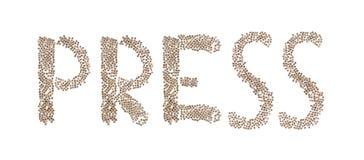 Drücken Sie geschrieben mit kleinen Würfeln Stockbild