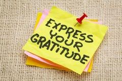 Drücken Sie Ihre Dankbarkeit aus lizenzfreies stockfoto