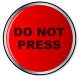 Drücken Sie nicht roten Knopf Stockfotos