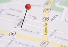 Drücken Sie Pin in der Karte stockfotografie
