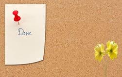 Drücken Sie Stift mit Papieranmerkung über Korkenanschlagtafel lizenzfreie stockfotografie