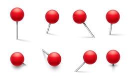 Drücken Sie Stifte Metallstift mit rundem rotem Plastikgriff, Reißzwecke in den verschiedenen Druckwinkeln Druckbolzen des Vektor vektor abbildung
