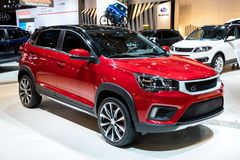 DR Automobiles DR3 car. BRUSSELS - JAN 18, 2019: DR Automobiles DR3 car showcased at the 97th Brussels Motor Show 2019 Autosalon stock images