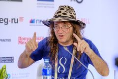 Dr. Ben Goertzel, CEO of SingularityNET at Open Innovations Conference. Moscow, Russia - October 1, 2017: Dr. Ben Goertzel, CEO of SingularityNET at Open Royalty Free Stock Image