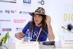Dr. Ben Goertzel, CEO of SingularityNET at Open Innovations Conference. Moscow, Russia - October 1, 2017: Dr. Ben Goertzel, CEO of SingularityNET at Open Stock Image