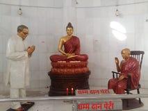 Dr. Bhim Rao Ambedkar. & x27;s statue worshipping lord buddha royalty free stock image
