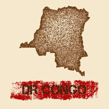 DR Congo distressed map. Royalty Free Stock Images