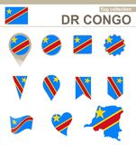 DR Congo Flag Collection stock illustrationer