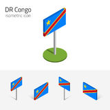DR Congo flag, vector set of 3D sometric flat icons. Democratic Republic of the Congo flag, vector set of isometric flat icons, 3D style. African country flags Royalty Free Stock Image