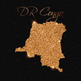 DR Congo map filled with golden glitter. Stock Photos