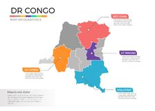 Dr Congo map infographics vector template with regions and pointer marks Stock Photo