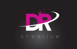 DR D R Creative Letters Design avec les couleurs roses blanches illustration stock