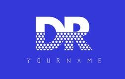 Dr D R Dotted Letter Logo Design con el fondo azul Imágenes de archivo libres de regalías