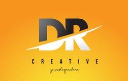 DR D R Letter Modern Logo Design avec le fond jaune et le Swoo illustration de vecteur