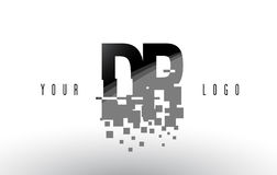 DR D R Pixel Letter Logo avec les places noires brisées par Digital Photographie stock