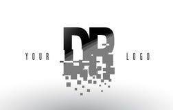 Dr. D R Pixel Letter Logo com quadrados pretos quebrados Digitas Fotografia de Stock