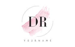 Dr. D R Watercolor Letter Logo Design com teste padrão circular da escova Foto de Stock