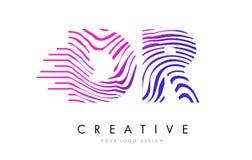 DR D R Zebra Lines Letter Logo Design avec des couleurs magenta Photographie stock libre de droits