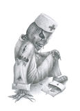 Dr. Death. Pencil sketch sitting on the ground of supernatural beings in the doctor's clothes with a doctor's tools Royalty Free Stock Photography