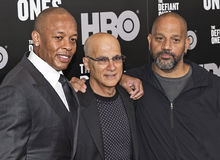 Dr. Dre, Jimmy Iovine, and Allen Hughes Stock Photography
