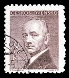 Dr. Edvard Benes 1884-1948, president, serie, circa 1946. MOSCOW, RUSSIA - MARCH 23, 2019: A stamp printed in shows Dr. Edvard Benes 1884-1948, president, serie stock images
