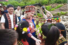 Dr. Jane Goodall MACK Daru tribes in Taitung Taiwa. Dr. Jane Goodall Taitung Taiwan MACK tribe to Daru, Jane Goodall house ground-breaking ceremony, Dr. Jane Stock Photos