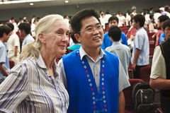 Dr. Jane Goodall photo and Taitung County Magistra. Te Huang Jianting Taitung 2010 after high school speech Stock Images