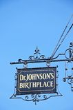 Dr Johnsons birthplace sign, Lichfield, England. Royalty Free Stock Images