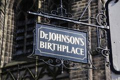 Dr Johnsons birthplace sign, Lichfield, England. Dr Johnsons Birthplace sign in a black wrought iron frame, Lichfield, Staffordshire, England, United Kingdom Royalty Free Stock Photo
