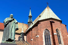 Dr. Jozef Dietl, Krakow. Dr. Jozef Dietl Monument in Front of Franciscan Church in Old Town of Krakow, Poland Royalty Free Stock Photos