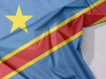 Dr Kongo tkaniny flaga zagniecenie z biel przestrzenią i krepa obrazy royalty free
