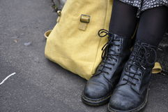 Dr Marten boots with canvas satchel Royalty Free Stock Images