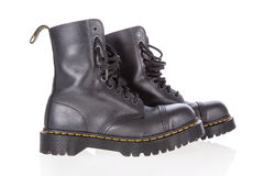 Dr. Martens black leather work boots with steel toe Stock Image