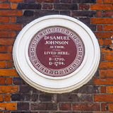 Dr Samuel Johnson Plaque in London Stock Photos