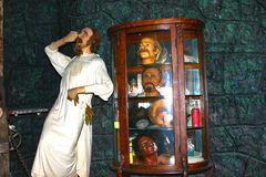 Dr. Victor Frankenstein-waxwork tableau stock foto's