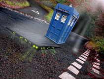 Dr who tardis and aliens Stock Image