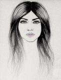 Dra blyertspennan av en flicka, utslagsplatsskjortatryck stock illustrationer