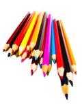 Dra blyertspennor, blandade coloures Arkivfoto