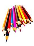 Dra blyertspennor, blandade coloures Fotografering för Bildbyråer
