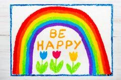 Dra: den härliga regnbågen och ord ÄR LYCKLIGA stock illustrationer