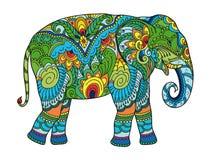 Dra den stiliserade elefanten Skissa Freehand för vuxen anti-spänningsfärgläggningbok stock illustrationer