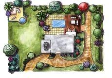 Dra den trädgårds- stugan för hus övre sikt Royaltyfri Bild