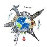 Dra det dröm- loppet runt om världen i en whiteboard Royaltyfri Foto